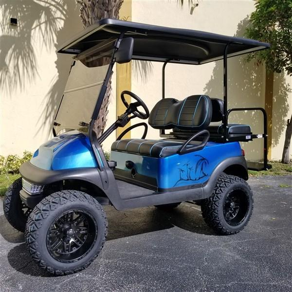 2015 BLUE TROPICAL THEMED Club Car Precedent Golf Cart with 6