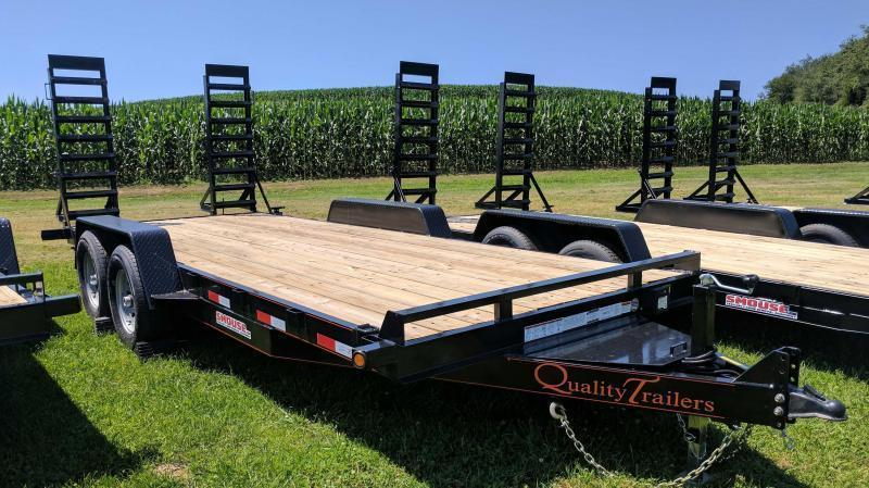 NEW 2018 Quality 18' HD General Duty Equipment Trailer w/ spring Assist Stand Up Ramps