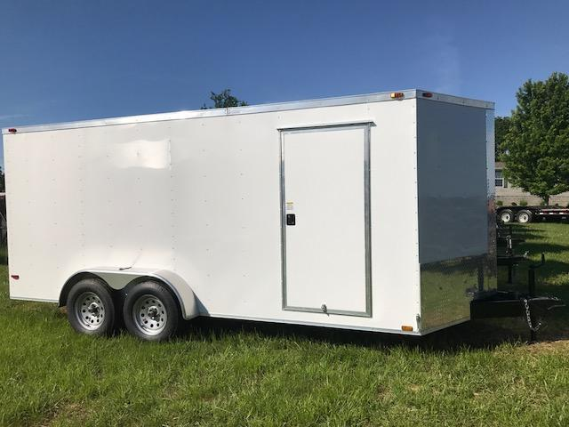2017 TT 07430 Enclosed Cargo Trailer 7' X 16' TANDEM SIDE DOOR RAMP DOOR WHITE