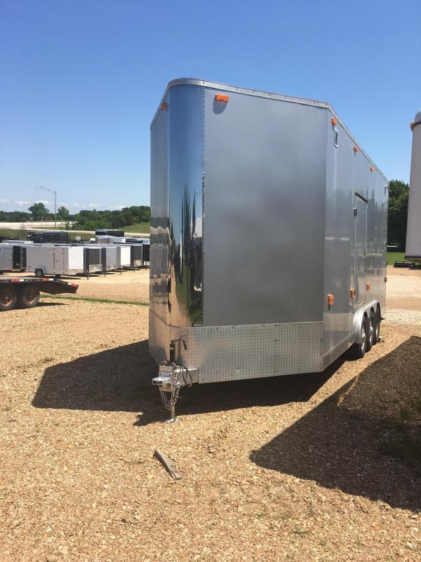 USED 2001 Gravely 20001 Car / Racing Trailer 8.5' X 22' STACKER 4K LIFT CABINETS 21K GVW SILVER