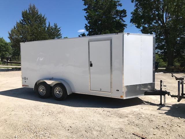 2018 Stealth Trailers 7 X 16 MUSTANG SERIES Enclosed Cargo Trailer 7K GVW SIDE/RAMP DOOR 6' WHITE
