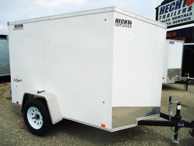 2017 Pace American 5X8 OUTBACK OB SI2 DLX BARN WHITE V NOSE Enclosed Cargo Trailer