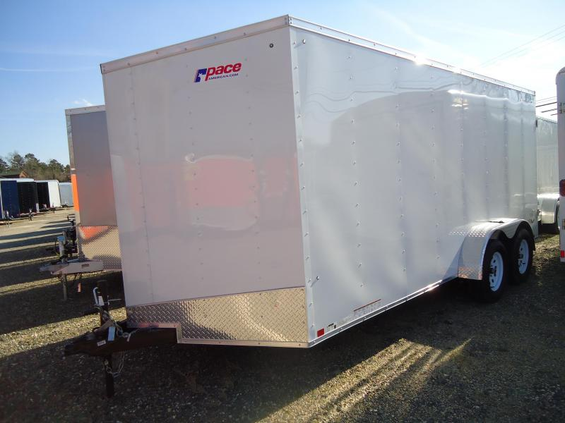 2017 Pace American 7X16OB TE2 RAMP WHITE Enclosed Cargo Trailer