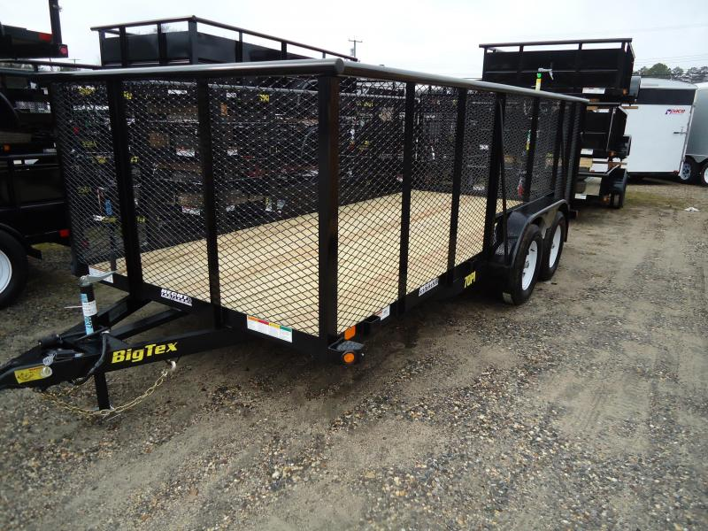 2018 Big Tex Trailers UT-7X16 70PI 16X BK 4RG 4' EXP METAL SIDES BLACK Utility Trailer