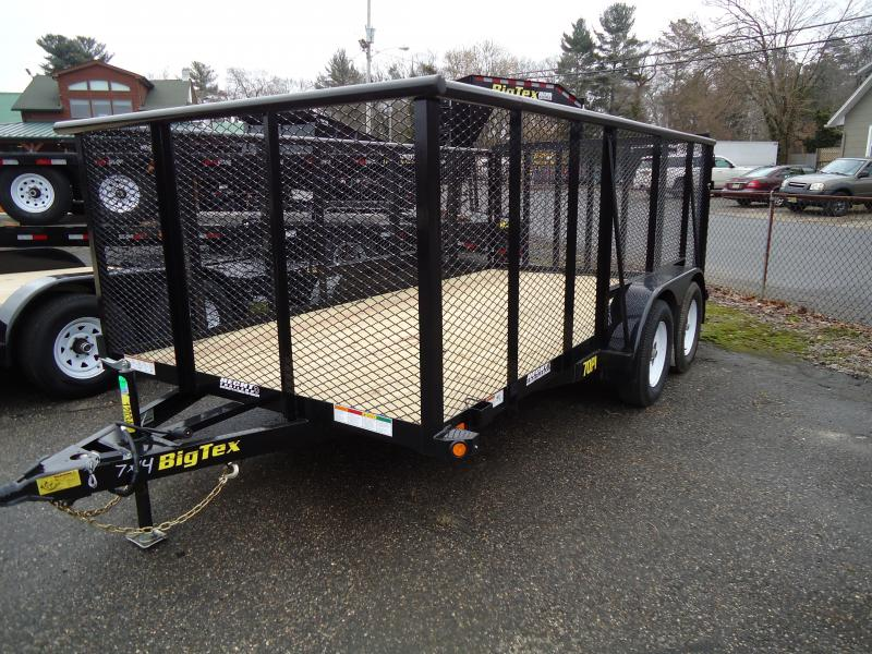 2018 Big Tex Trailers UT 7X14 70PI-14XBK 4RG 4' EXP METAL SIDES BLACK Utility Trailer