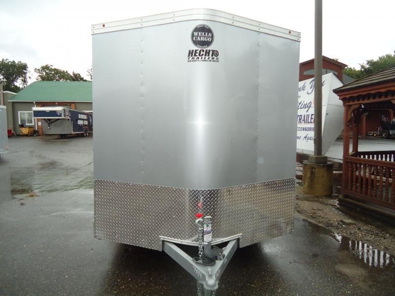 2017 Wells Cargo 7X14RFV 2 RAMP SILVER Enclosed Cargo Trailer