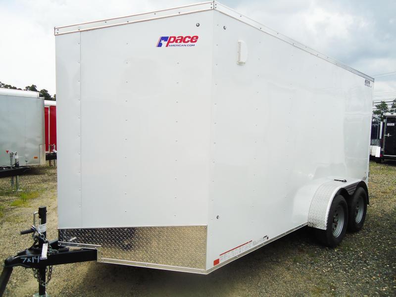 2018 Pace American 7X14 OB DLX V TE2 6X RAMP SVNTS WHITE Enclosed Cargo Trailer