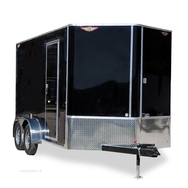 2019 H&H Trailers 7x14 Cargo Black Flat Top V-Nose Tandem Axle