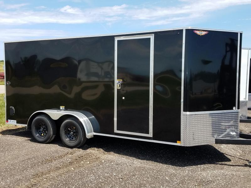 2019 H and H Trailers 7x16 Cargo Black Flat Top V-Nose Tandem Axle