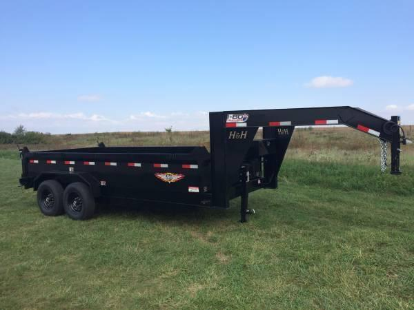 "***SPECIAL*** 2019 H&H Trailers 83""x16' DBW Gooseneck Dump Box Tandem Axle"