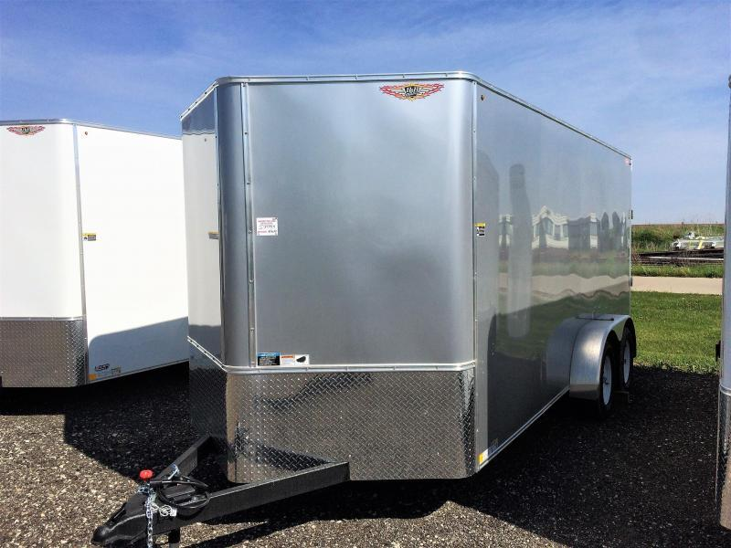 2019 H&H Trailers 7x16 Cargo Silver Mist Metallic Flat Top V-Nose Tandem Axle