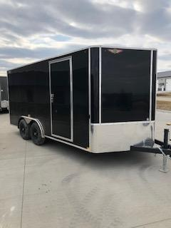 2019 H&H Trailers 8x16 Cargo Black Flat Top V-Nose Tandem 3.5k Axle