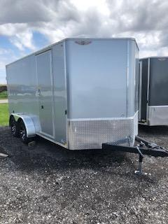 2020 H and H Trailers 7x14 Cargo Silver Mist Metallic Flat Top V-Nose Tandem Axle