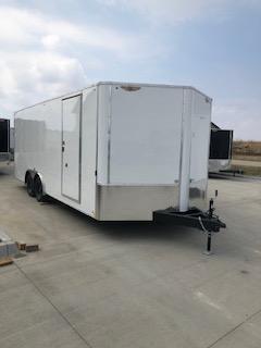 "2019 H&H Trailers 101""x20' White Enclosed Car Hauler V-Nose Tandem Axle"
