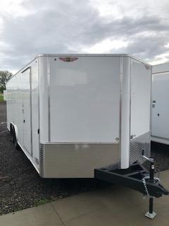 2019 H&H Trailers 101x24 White Enclosed Car Hauler V-nose Tandem Axle