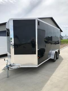 2019 CargoPro Trailer 7X16 Black Flat Top V-nose 3.5k Tandem Axle Enclosed Cargo Trailer