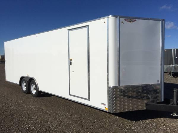 "2019 H&H Trailers 101""x28' White Enclosed Car Hauler V-Nose Tandem Axle"