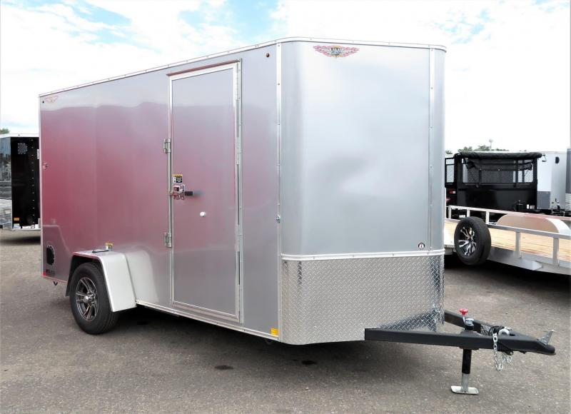 2019 H&H Trailers 7x14 Cargo Silver Mist Metallic Flat Top V-Nose Tandem Axle