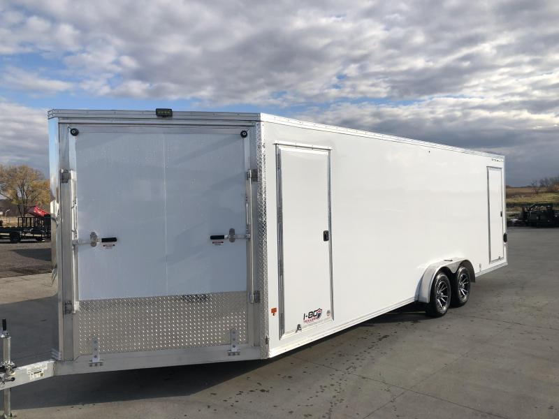 2019 SnoPro Trailers 7.6'x18'+5' V-Nose White Enclosed Snowmobile Hauler V-Nose Tandem Axle