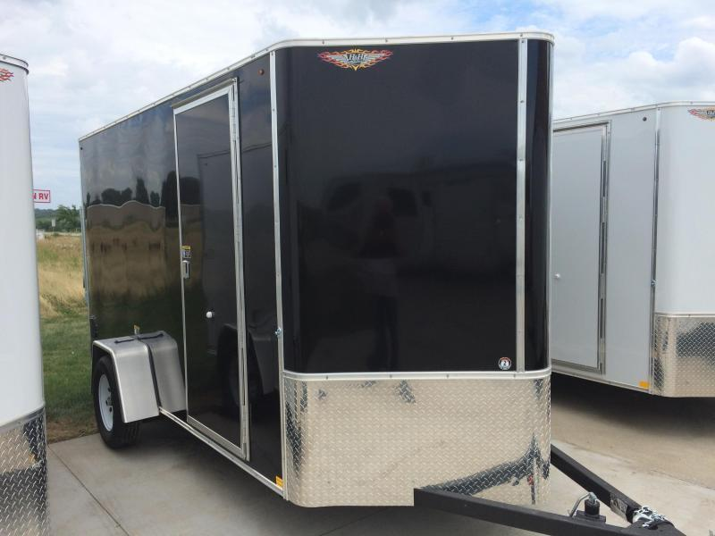 2019 H and H Trailers 6x12 Cargo Black Flat Top V-Nose Single Axle