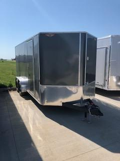 2020 H and H Trailers 7x14 Cargo Charcoal Metallic Flat Top V-Nose Tandem Axle