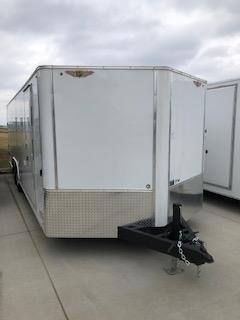 2020 H and H Trailers 101X20 White Enclosed V-Nose 5.2k Tandem Axle Car Hauler