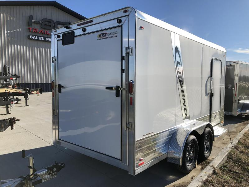 2019 Legend Trailers White Deluxe  7'X14' + 3' V-Nose Tandem Axle Enclosed Cargo Trailer