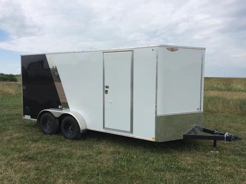 2019 H&H Trailers 7x16 Cargo Two Tone White/Black Flat Top V-Nose Tandem Axle