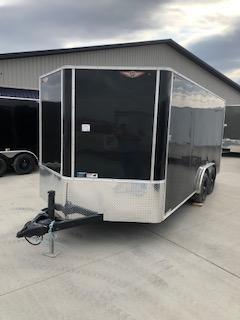 2019 H and H Trailers 8x16 Cargo Black Flat Top V-Nose Tandem 5.2k Axle