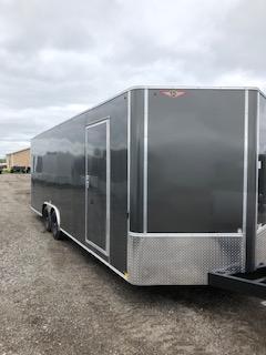 2019 H&H Trailers 101x24 Charcoal Enclosed Car Hauler V-nose Tandem Axle