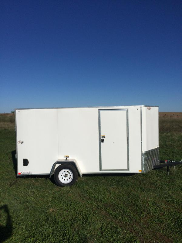 2019 H and H Trailers 6x14 Cargo White Flat Top V-Nose Single Axle
