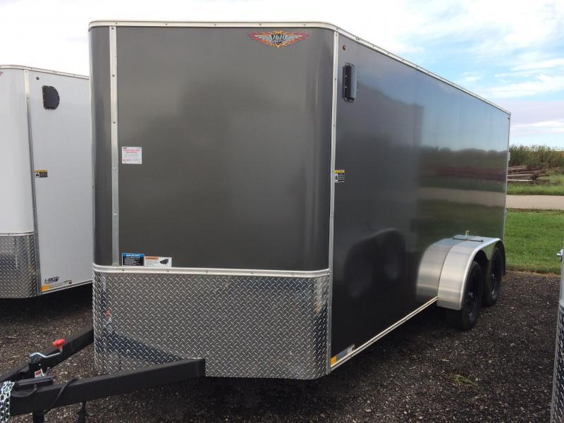 2018 H&H Trailers 7x12 Cargo Charcoal Flat Top V-Nose Tandem Axle