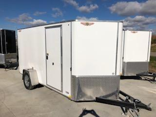2019 H&H Trailers 7x12 Cargo Flat Top V-Nose White Single Axle