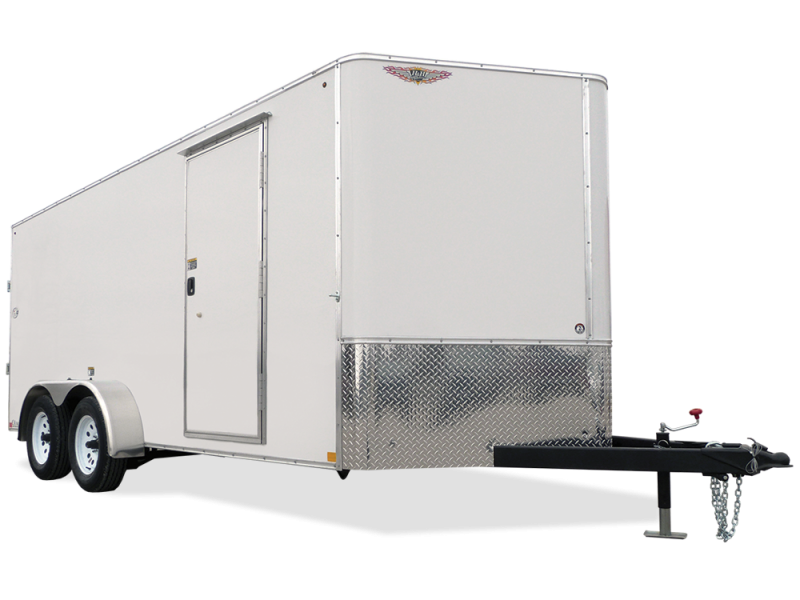 2018 H&H Trailers 7x16 Cargo White Flat Top V-Nose Tandem Axle