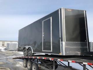 "2019 H&H Trailers 101""x20' Charcoal Metallic Enclosed Car Hauler V-Nose Tandem Axle"