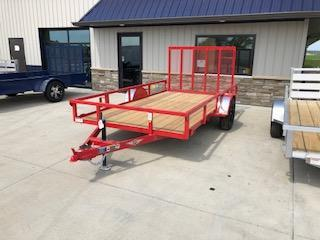 "2019 H&H Trailers 76""x12 Utility Red Rail Side Single Axle"