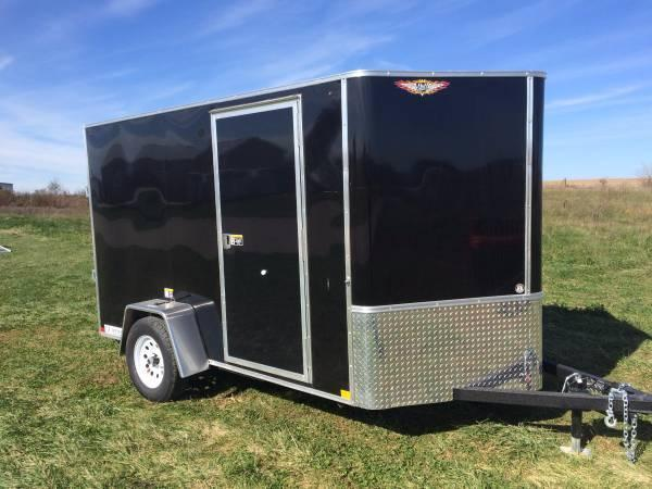 2019 H&H Trailers 6x10 Cargo Black Flat Top V-Nose Single Axle