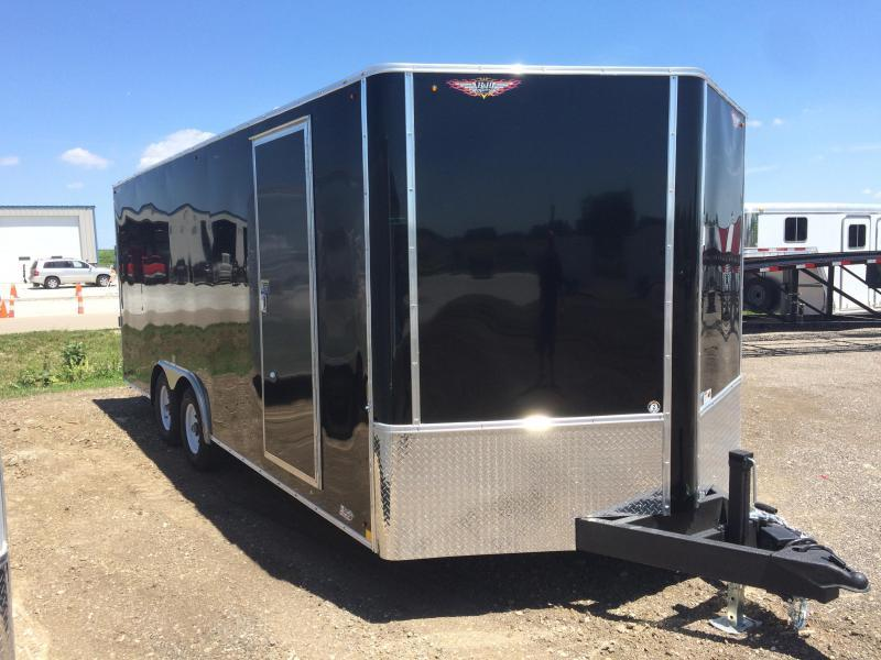 "2019 H and H Trailers 101""x20' Black Enclosed Car Hauler V-Nose Tandem Axle"