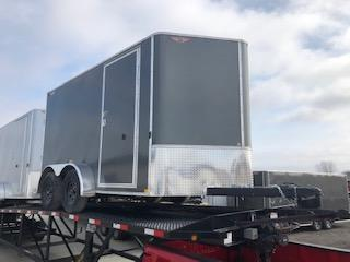 2020 H and H Trailers 7x12 Cargo Charcoal Flat Top V-Nose Tandem Axle