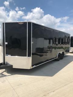 2020 H and H Trailers 101x24 Black Enclosed Car Hauler V-Nose Tandem Axle