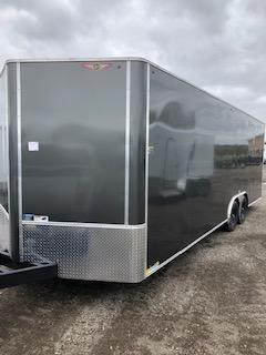 """2020 H and H Trailers 101""""x24' Charcoal Enclosed Car Hauler V-Nose Tandem Axle"""