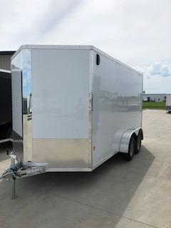 2019 CargoPro Trailers 7X14 White Flat Top V-nose 3.5k Tandem Axle Enclosed Cargo Trailer