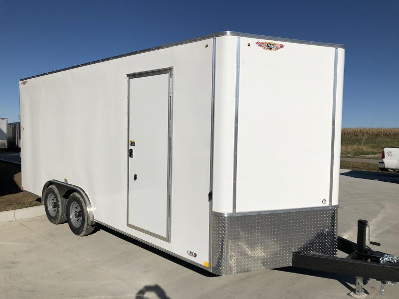 2020 H and H Trailers 8x18 Cargo White Flat Top V-Nose Tandem 5.2k Axles