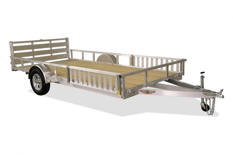 "2019 H&H Trailers 82""x16' Aluminum ATV Utility Rail Side Tandem Axle"