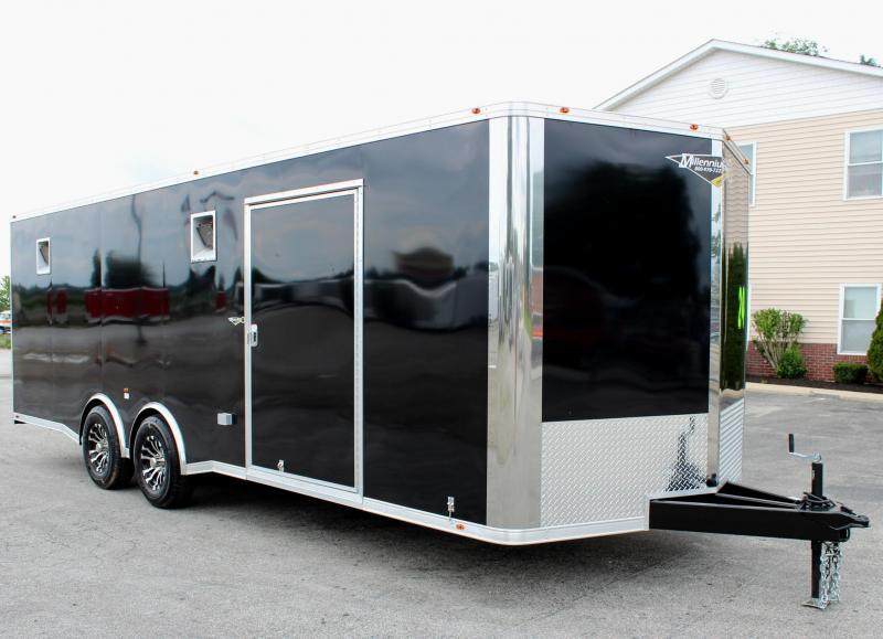 2020 24' Black Millennium Silver Spread Axle V Nose Enclosed Trailer LOADED!