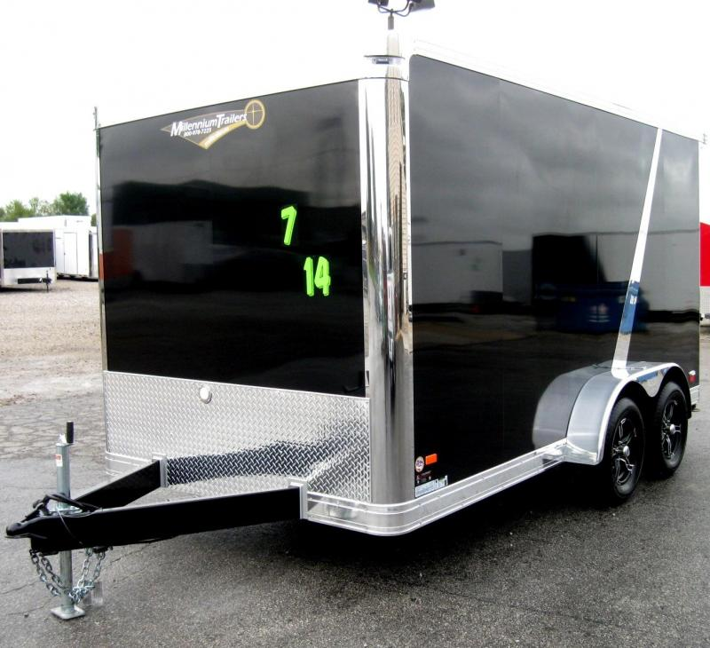 2018 7'x14' Millennium Star Super Premium Motorcycle Trailer with Rear Wing