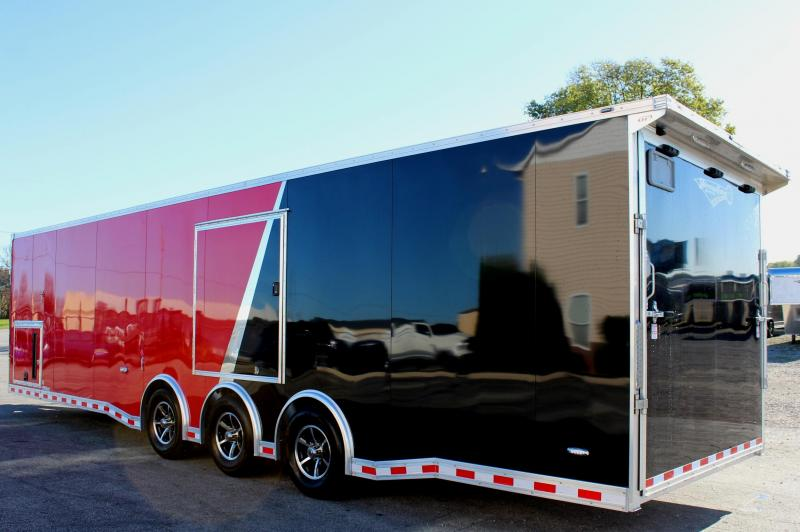2020 ALL ALUM 32' Millennium Extreme Enclosed Race Car Trailer w/Black Cabinets & Escape Door