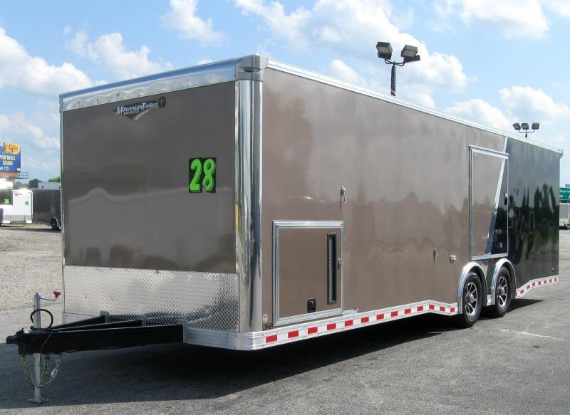 <b>NOW READY</b> 2019 28' Millennium Extreme Enclosed Race Trailer 2 Tone Metallic Bronze/Black w/Wing Aluminum Black Inlay Wheels
