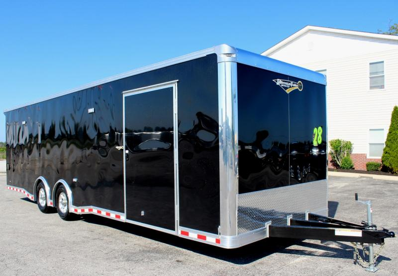 <b>Now Ready</b> 2019 28' Millennium Extreme Race Trailer w/Red Cabinets/Escape Door/ Rear Wing