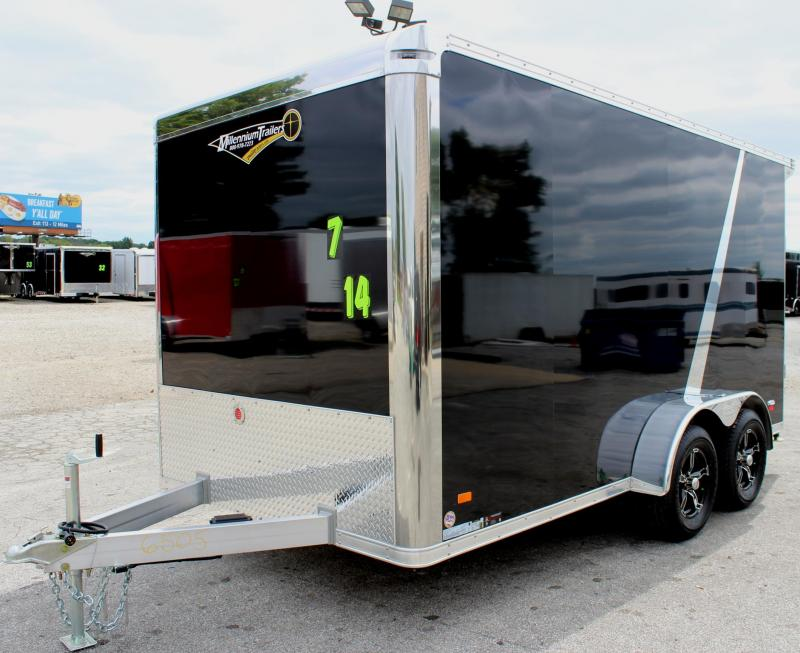 <b>FACTORY MOTORCYCLE DEMO TRAILER</b> 2019 ALL ALUMINUM 7'x14' Motorcycle Trailer 3-Money Saving Packages It's a WOW! Just Add Bikes!